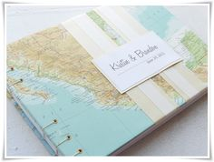 Custom map coptic bound wedding guest book, very cool item for a destination wedding!