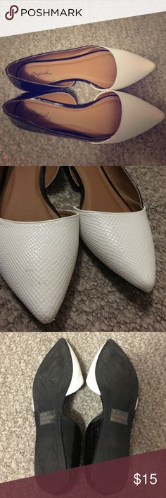White and Black Patent Leather Flats Worn only a handful of times. In GREAT condition overall condition. White part of shoes has a snakeskin-like design. Qupid Shoes Flats & Loafers