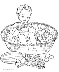 Fruit basket for kid to print and color