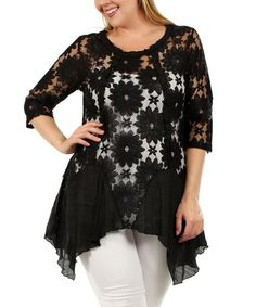 Another great find on #zulily! Black Lace Sidetail Tunic - Plus #zulilyfinds