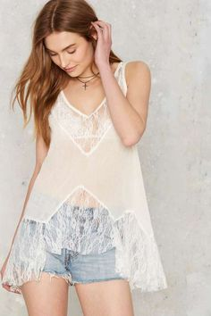at nasty gal bradbury asymmetric lace tank White Lace Tank Top, Lace Crop Tops, Bohemian Lace Dress, Long Tank Tops, White V Necks, Clothes, Nasty Gal, White White, Women