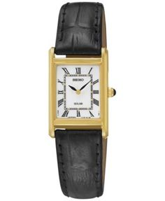 The classic dress watch is recharged with solar-powered movement on this Seiko design. Features a power reserve up to six months. | Black leather strap | Rectangular gold-tone stainless steel case, 18