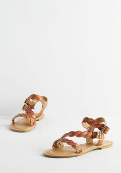Plait for Keeps Sandal. Your love for these cognac brown sandals is serious! #brown #modcloth