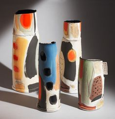 These slab-built earthenware pieces are by British artist Camilla Ward . To see more of her work go to Studio Pottery . Pottery Painting, Ceramic Painting, Pottery Vase, Ceramic Artists, Ceramic Pottery, Slab Pottery, Thrown Pottery, Ceramic Decor, Ceramic Clay