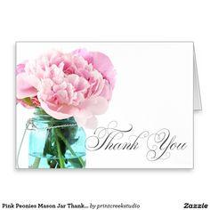ピンクのシャクヤクのメーソンジャーは感謝していしています ノートカード