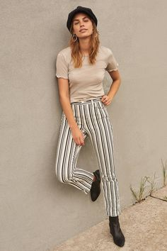 BDG Kick Flare High-Rise Cropped Jean – Stripe | Urban Outfitters