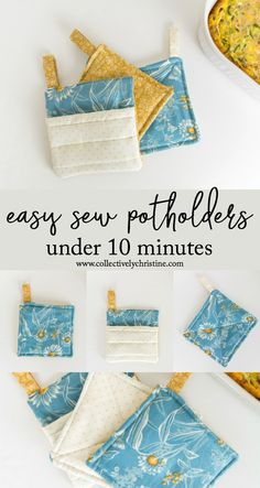 Add a new touch to your kitchen with these easy sew DIY potholders. These take under 10 mins to make and are a great touch to your kitchen. Perfect addition along with Sewing Lessons, Sewing Hacks, Sewing Tutorials, Sewing Crafts, Sewing Patterns, Potholder Patterns, Sewing Stitches, Sewing Blogs, Sewing Ideas