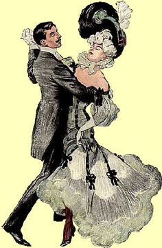 Belle epoque fashion A couple dancing the valse bleue. Belle epoque is the term for a period of about 30 years at the turn of the century. Belle Epoque, Victorian Men, Edwardian Era, Dancing Drawings, Perfume Atomizer, Historical Clothing, Art Nouveau, Images, Costumes