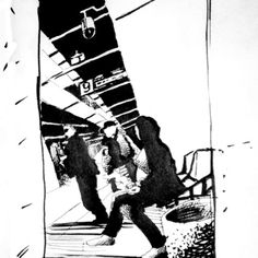 """""""Bus station @ Morning"""" situational ink drawing"""