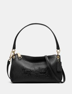Coach Satchels Embossed Horse and Carriage Charley Top Handle Crossbody in Pebbled Leather