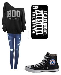 """""""F*ck"""" by rayne-hudson ❤ liked on Polyvore featuring Topshop and Converse"""