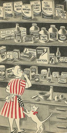 Vintage Cookbook Illustration. Cool to see so many of the same brands as today