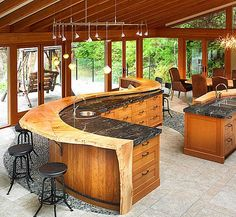 Enthralling Small Kitchen Bar Design With Artistic Wooden Kitchen Island Also Rustic Natural Unfinish Wood Log Breakfast Bar from Kitchen Design - Ideas and Picture