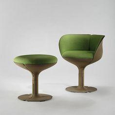 Pierre Paulin Elysee Chair and Stool, 1973, Cast Aluminum