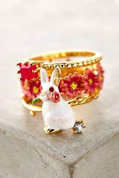 Garden Rabbit Ring Set - anthropologie.com