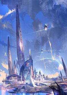 Mainly posting science fiction and fantasy stuff i find cool Cyberpunk City, Ville Cyberpunk, Futuristic City, Fantasy Art Landscapes, Fantasy Landscape, Fantasy Artwork, Landscape Art, Fantasy City, Fantasy Places