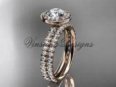 """14k rose gold diamond engagement ring, wedding band, engagement set, """"Forever One"""" Moissanite VD10082S"""
