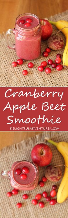 Tart cranberries mixed with a sweet banana and apple make this Cranberry Apple Beet Smoothie a delicious way to get a good serving of fruits and veggies!