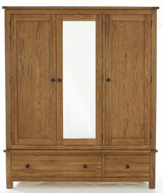 Cambridge Oak Furniture Large Mirrored 3 door Wardrobe - - A fantastic range of Cambridge Oak Furniture Large Mirrored 3 Door Wardrobe from Listers Interiors Single Door Wardrobe, Ikea Wardrobe, Wooden Wardrobe, Sliding Wardrobe Doors, Wardrobe Design Bedroom, Mirrored Wardrobe, Bedroom Tax, Bedroom Mirrors, Bedroom Desk