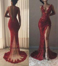 Sexy Sheath Deep V-neckline Slit Wine Red Lace Prom Dress
