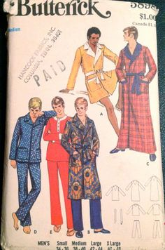 1960s  Butterick 5898 Mens ROBE and PAJAMAS Pattern by mbchills, $7.00