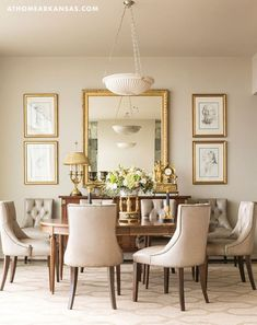 High Rise High Style At Home in Arkansas April 2016 Dining Room Condominium Antiques Neutral Palette - March 09 2019 at Dining Room Mirror Wall, Dining Room Walls, Dining Room Design, Dining Room Furniture, Dining Chairs, Living Room, Room Chairs, Dinning Room Art, Dining Wall Decor