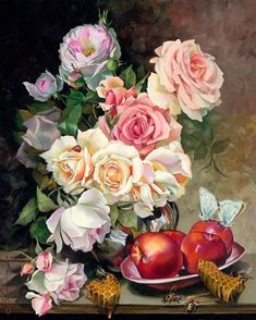 DIY Diamond Painting Flowers Full Square New Arrival Drill Mosaic Diamond Embroidery Art Floral, Still Life Artists, Diamond Paint, Most Beautiful Flowers, Rose Embroidery, Art Plastique, Botanical Prints, Vintage Flowers, Flower Art