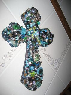 Wooden Wall Cross in Jewels by cthorses66 on Etsy, $75.00