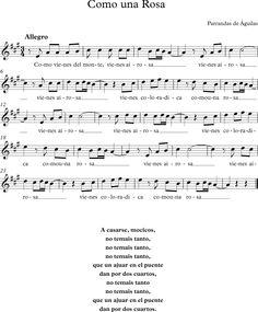 Como una Rosa. Parranda de Águilas. Cancionero Murciano. Piano, Sheet Music, Musicals, Life, Pink, World, School Songs, Activities