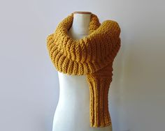 Chunky Scarf Knitted in Golden Yellow Soft Blend Wool by knitBranda on Etsy
