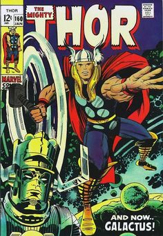 This Mighty Thor Wall Decal makes a great gift for any fan of Marvel Comics! Featuring the cover of a 1969 issue of The Mighty Thor where Thor battles Galactus, this reusable decal is an awesome addition to any game room, playroom, or office! Poster Marvel, Marvel Comics, Ms Marvel, Comic Poster, Marvel Comic Books, Comic Books Art, Comic Art, Marvel Art, Heroes Comic