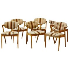 Set of Six Dining Chairs Model 42 by Kai Kristiansen in Oak and Original Fabric at 1stdibs