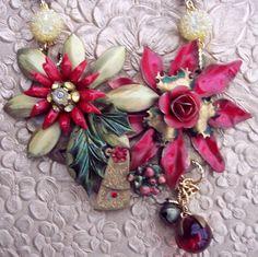 Steampunk Enamel Flower Statement Necklace by JaelDesigns