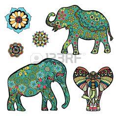 Set of Hand drawn stylized elephant with decorative tribal ethnic ornament. Graphics for t-shirt, poster, isolated element for invitation or card design, tattoo style, colorful vector illustration