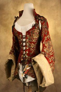 Red and Gold Corseted Pirate Coat Waist 25 to by damselinthisdress