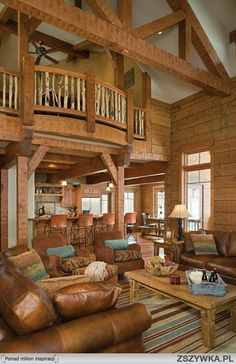 Spacious and rustic great room.  #cabins  #greatrooms  homechanneltv.com