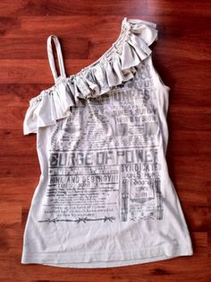 Recyled tee shirts into a tank top