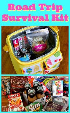 A Road Trip Survival Kit to keep you sane on the road! Lots of  great ideas and makes a fun gift idea as well! | MomOnTimeout.com