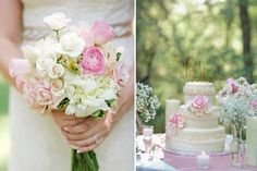 Sedona wedding flowers and cake. Cream and pink details.