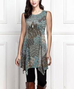 Another great find on #zulily! Aqua Peacock Sleeveless Handkerchief Tunic #zulilyfinds