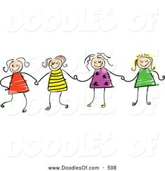 picture of stick figure friends | ... Clipart of a Childs Sketch of Four Stick Figure Girls Holding Hands