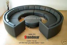 Leather Round Sectional Sofa Set 1 x Left arm sofa. 4 x Armless Sofa. 1 x Right arm sofa. 1 x Round ottoman. Our is a versatile, modern furniture set with a unique rounded structure that provides a modern vibe to any household. Round Sectional, Round Sofa, Round Ottoman, Sectional Sofa, Circular Couch, Modern Furniture Sets, Leather Sofa Set, Study Office, Modern Family