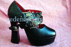 Demonia Rockabilly Platform Skull Bones Goth Heels 8 | eBay