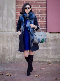 bittersweet colours, navy coat, sweater dress, uniqlo, christian dior sunglasses, costume national bag, cape scarf, plaid scarf, cashmere coat, fall street style, street style, fall trends, navy black, stuart weitzman boots,  suede boots, melanie auld jewelry,