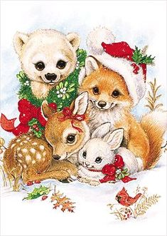 Stunning image - - from the clip art category animated Christmas Animals gifs & images! Christmas Scenes, Christmas Animals, Christmas Art, Beautiful Christmas, Xmas, Images Vintage, Vintage Christmas Images, Christmas Pictures, Christmas Graphics