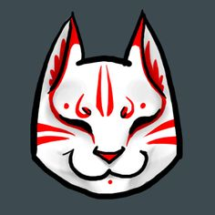 A cute simple kabuki cat mask, this image could be used as an avatar on a forum quite nicely, or alternatively on box design like the ones on the tamagotchi boxes (Goofoofighter on Deviantart, Small Japanese Tattoo, Japanese Cat, Kitsune Maske, Anbu Mask, Mask Drawing, Dog Mask, Mask Tattoo, Mask Design, Box Design