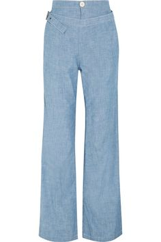 Chloé's pants have a high-rise waist and slim buckled belt - it looks especially cool fastened loosely over your hips. The wide-leg shape reflects the label's relaxed vibe, especially in the breezy cotton-chambray fabric. We love them as part of a coordinated outfit with the matching top.