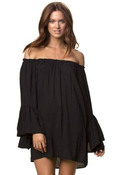 84d7f349498 Elan Flutter Ruffle Sleeve Off Shoulder Tunic Top-Black