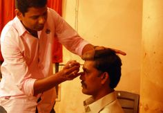 Hasmukh bhai (Character from Mr and Mrs Show) getting ready for his role. — with Sudhir Shridhar.