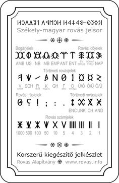 Szekely magyar rovas abc segedjelek 1.0 Runic Writing, Runic Alphabet, In A Little While, Folk Fashion, 1, Symbols, Letters, Scripts, Atlantis